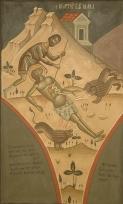 Φώτης Κόντογλου, Το Μαρτύριο του Αγίου Μάμαντα, αντίγραφο τοιχογραφίας από το Καθολικό Μονής Βαρλαάμ Μετεώρων, 1932, τέμπερα σε μουσαμά, 106 Χ 66 εκ.