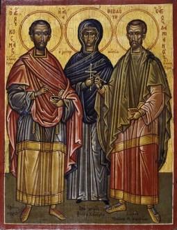 Η Αγία Θεοδότη με τον Άγιο Κοσμά και τον Άγιο Δαμιανό, Παρεκκλήσιο των Αγίων Αναργύρων στον Πάρνωνα Λακωνίας